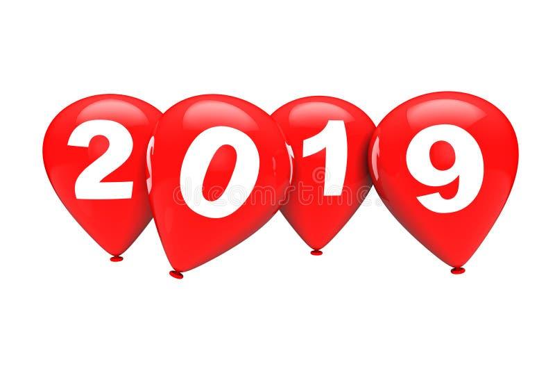 Concetto di nuovo anno Palloni rossi di Natale con il segno 2019 3d si strappano illustrazione di stock