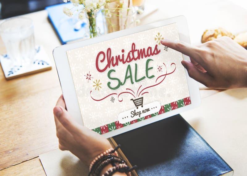 Concetto di offerta di promozione di inverno di vendita di Natale fotografia stock