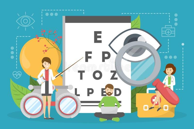 Concetto di oftalmologia Idea di cura e di visione dell'occhio royalty illustrazione gratis