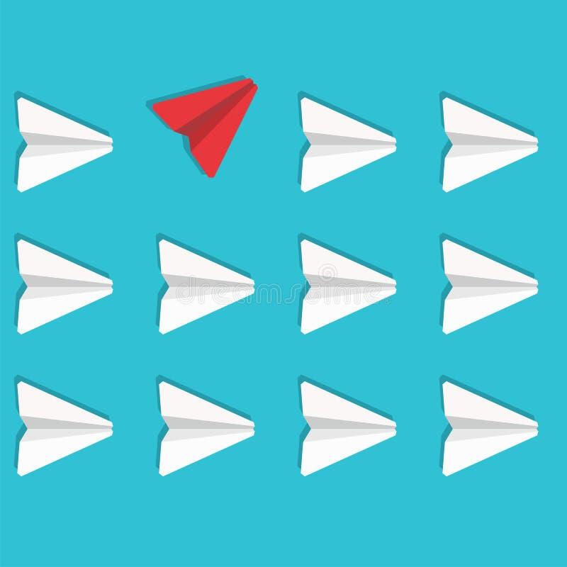 Concetto di opposizione di affari Volo rosso dell'aeroplano di carta nella direzione opposta Illustrazione di vettore illustrazione di stock
