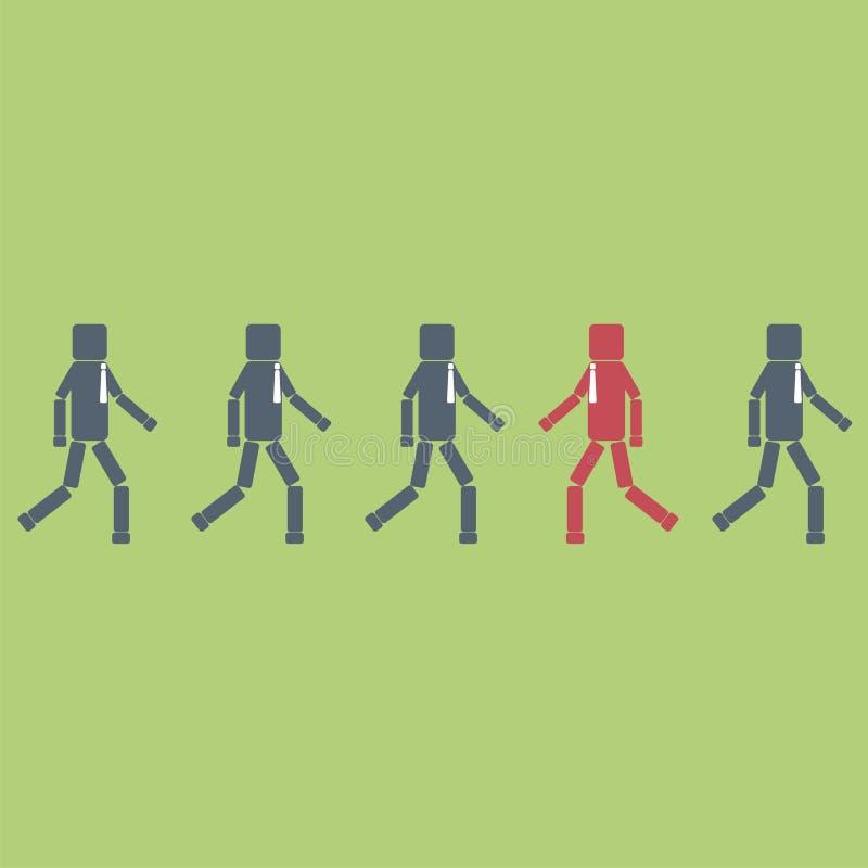 Concetto di opposizione Una figura rossa dell'uomo d'affari che cammina contrariamente ad un gruppo Illustrazione di vettore illustrazione di stock