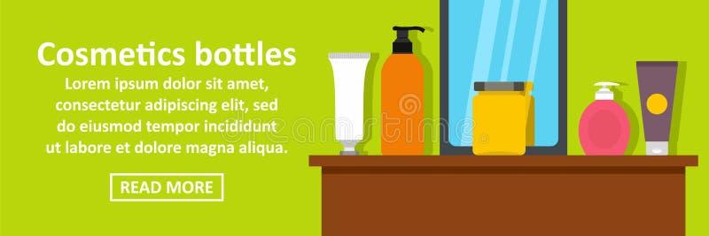 Concetto di orizzontale dell'insegna delle bottiglie dei cosmetici illustrazione di stock