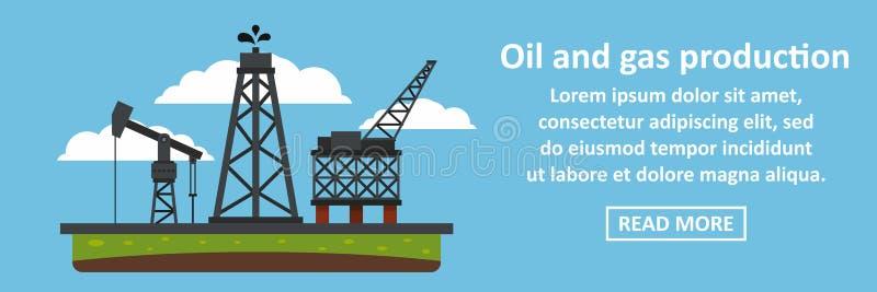 Concetto di orizzontale dell'insegna di produzione del gas e del petrolio illustrazione di stock