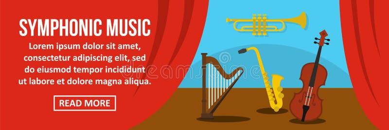 Concetto di orizzontale dell'insegna di musica sinfonica illustrazione di stock