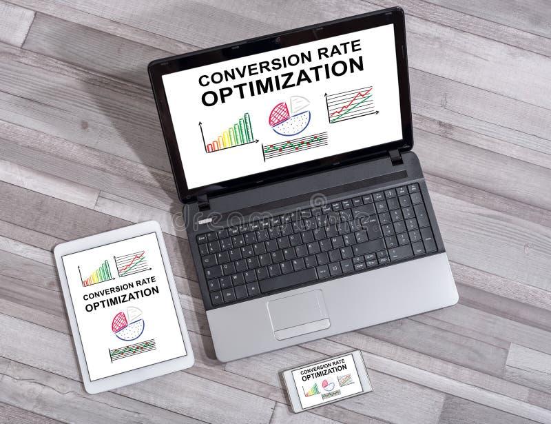 Concetto di ottimizzazione di tasso di conversione sui dispositivi differenti immagine stock libera da diritti