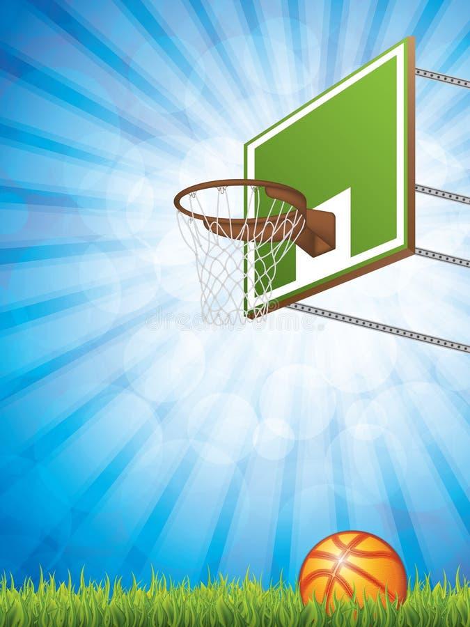 Concetto di pallacanestro con il cerchio e la palla illustrazione vettoriale