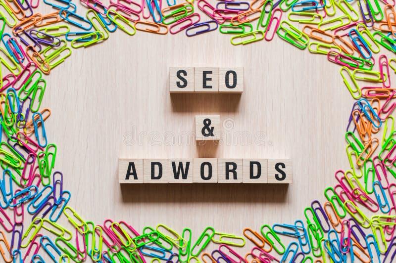Concetto di parola di Adwords e di Seo fotografie stock libere da diritti