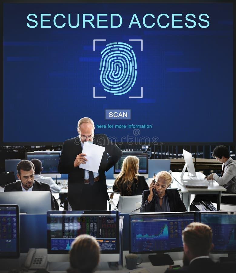 Concetto di parola d'ordine dell'impronta digitale di sicurezza di tecnologia immagini stock