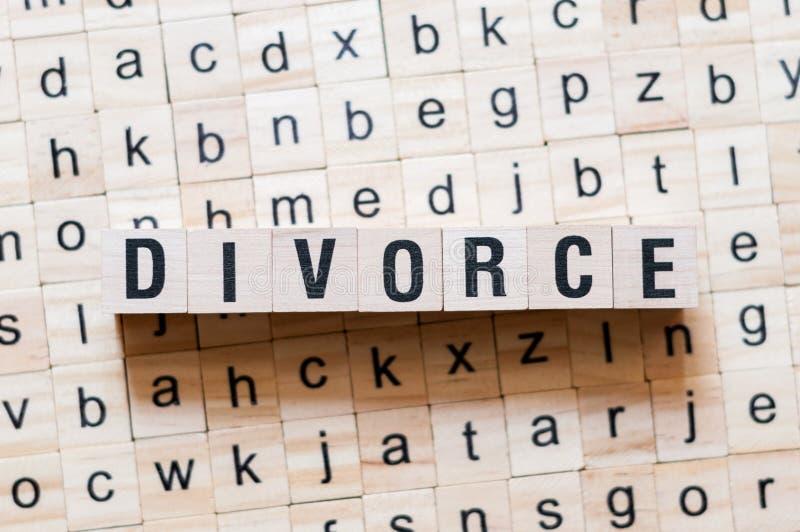 Concetto di parola di divorzio fotografie stock libere da diritti