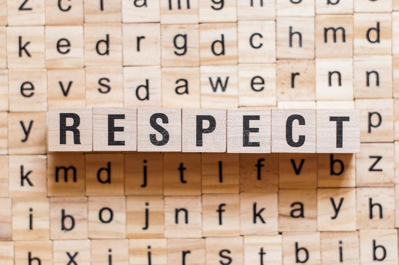 Concetto di parola di rispetto fotografia stock libera da diritti