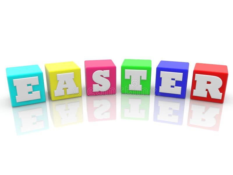 Concetto di Pasqua sui cubi variopinti illustrazione 3D royalty illustrazione gratis