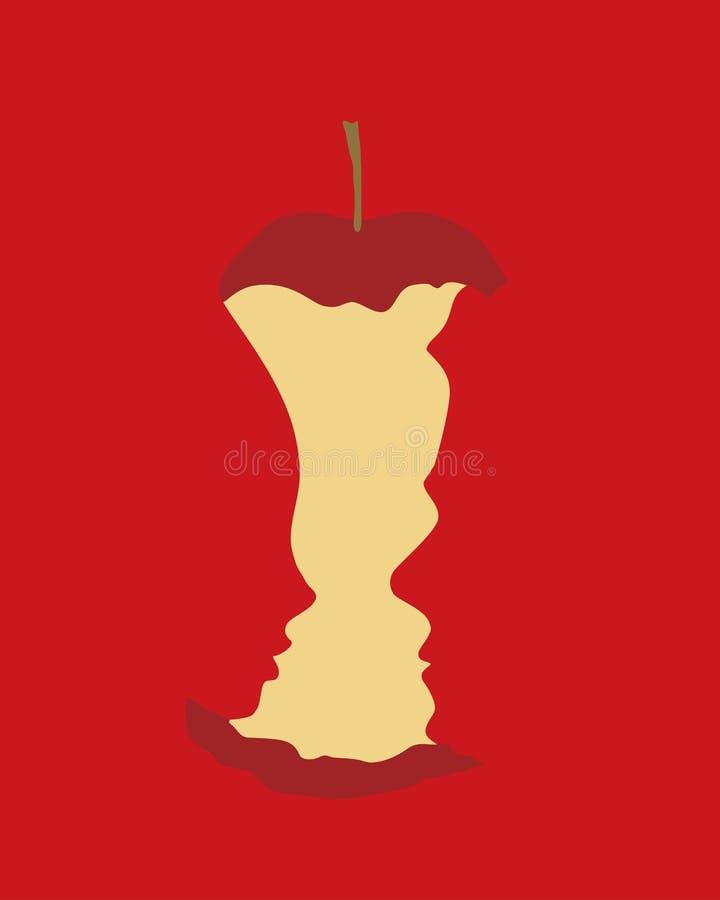 Concetto di peccato originale - Adamo e Eva con la mela pungente su fondo rosso royalty illustrazione gratis