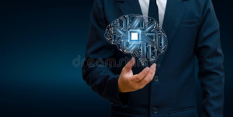 Concetto di pensiero fondo con l'argomento di simboli di tecnologia di serie di mente del CPU del cervello di informatica, artifi fotografia stock