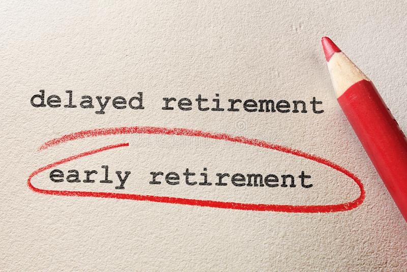Concetto di pensionamento anticipato immagini stock