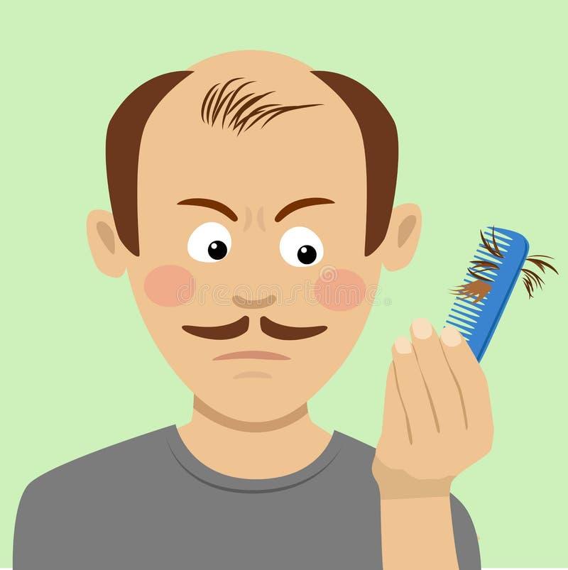 Concetto di perdita di capelli Uomo con la spazzola che allenta capelli su fondo bianco illustrazione vettoriale