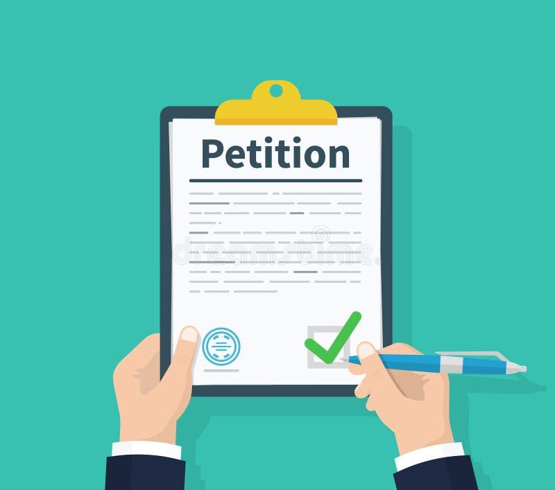 concetto di petizione La lavagna per appunti della tenuta dell'uomo a disposizione scrive il concetto di petizione schemi Progett illustrazione di stock