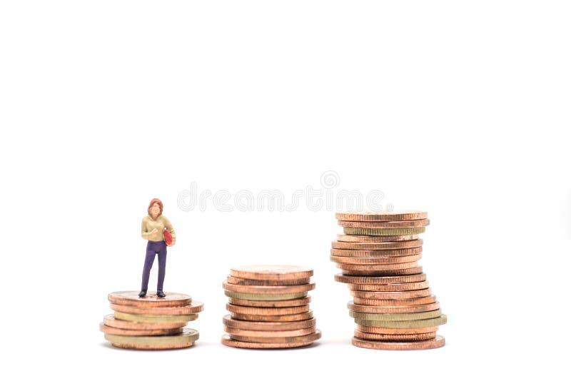 Concetto di piallatura finanziaria della donna fotografia stock