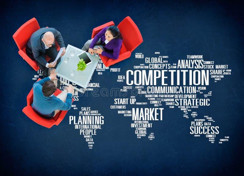 Concetto di pianificazione di vendita di affari della competizione globale fotografia stock libera da diritti