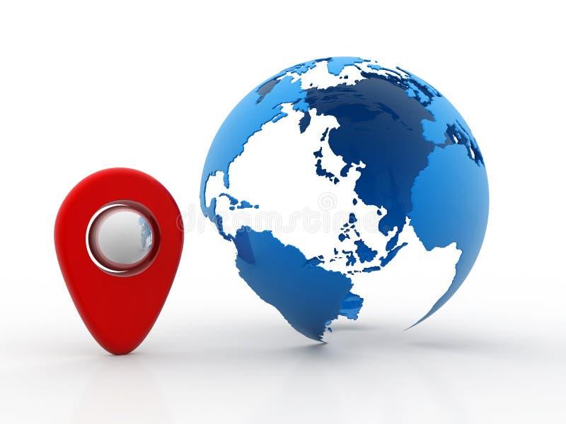 Concetto di pianificazione di navigazione e di viaggio con il globo isolato nel fondo bianco illustrazione 3D illustrazione vettoriale