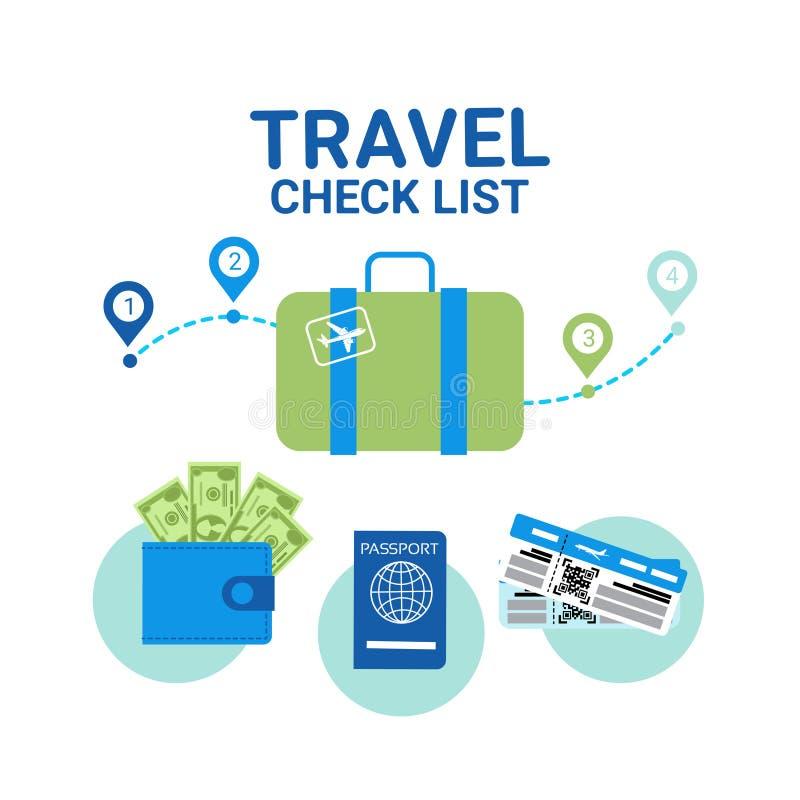 Concetto di pianificazione di offerta di l$voro dell'insegna del modello delle icone della lista di controllo di viaggio royalty illustrazione gratis