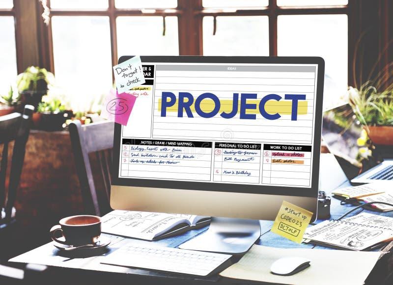 Concetto di piano di attività di gestione di strategia di progetto fotografia stock