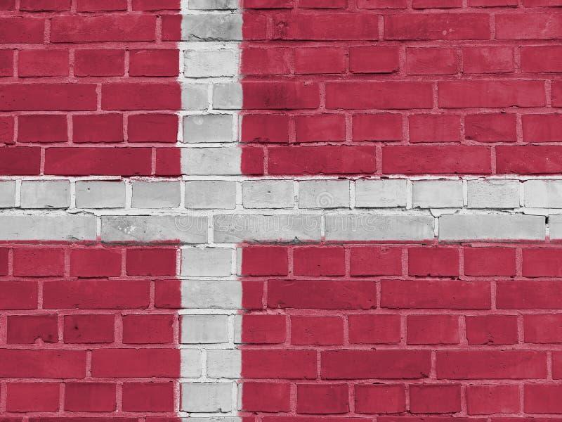 Concetto di politica della Danimarca: Parete danese della bandiera fotografia stock libera da diritti