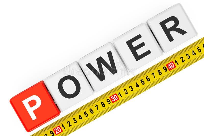 Concetto di potere di misura Cubi di potere con nastro adesivo di misurazione immagini stock libere da diritti