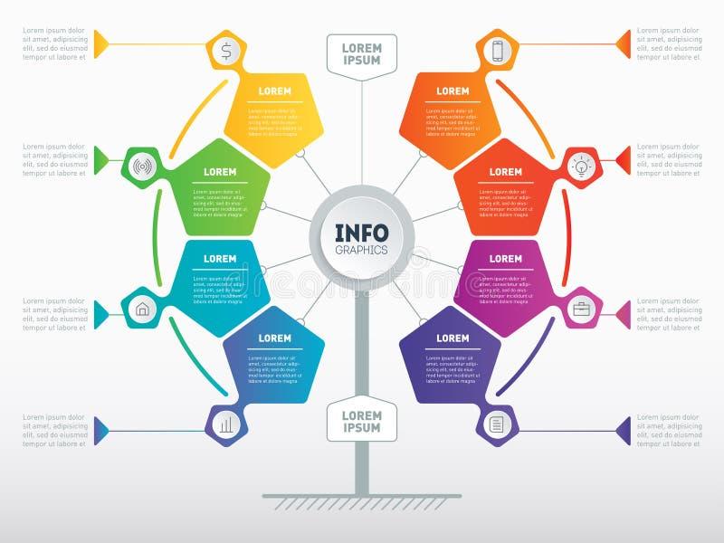 Concetto di presentazione di affari con 8 opzioni Modello Web del Se illustrazione vettoriale