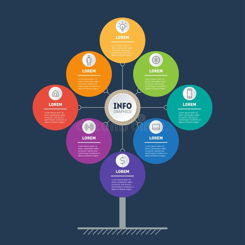 Concetto di presentazione di affari con 8 punti Modello Web dell'albero, del grafico di informazioni o del diagramma Vettore info illustrazione vettoriale