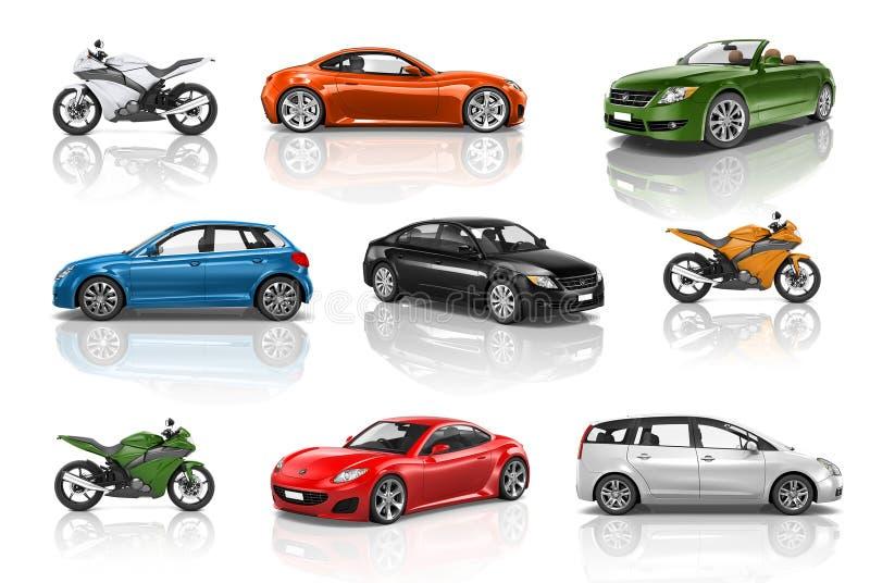 Concetto di prestazione del motociclo dell'automobile del veicolo del trasporto illustrazione di stock