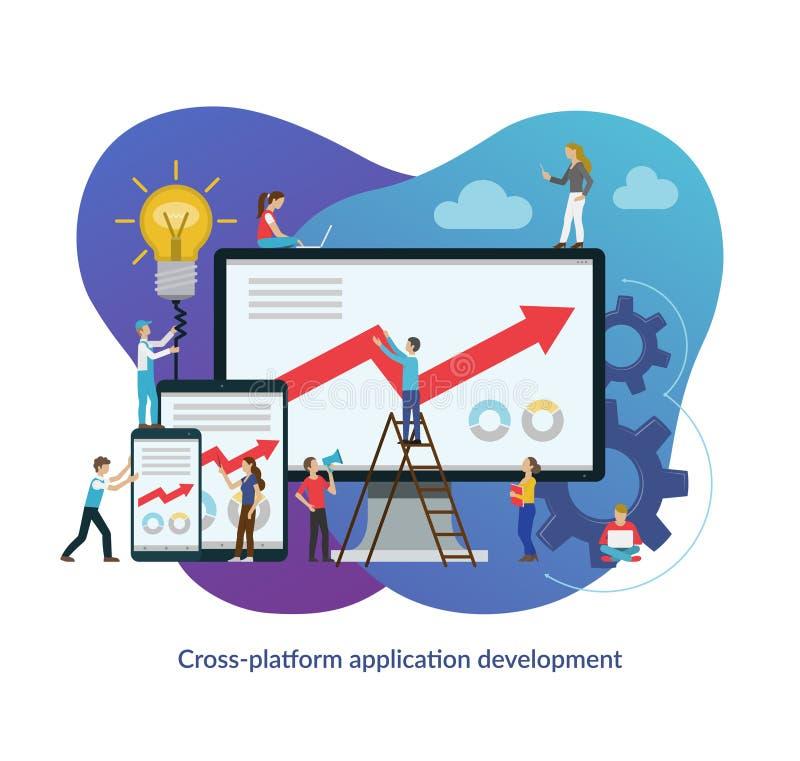 Concetto di processo di sviluppo di app della multipiattaforma Illustrazione piana di vettore di progettazione illustrazione vettoriale