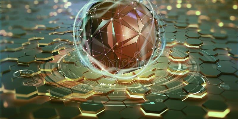 Concetto di processore futuristico Database globale nel cyberspazio digitale illustrazione vettoriale