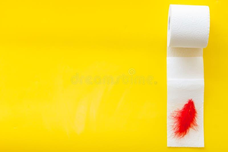 Concetto di proctologia con il rotolo della carta igienica e la piuma rossa sul copyspace giallo di vista superiore del fondo fotografia stock