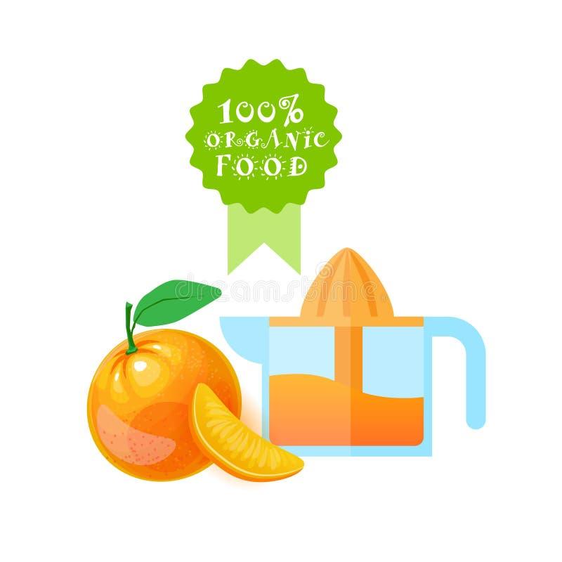 Concetto di prodotti di fattoria naturale degli spremiagrumi di Logo Fresh Orange Juice And dell'alimento biologico royalty illustrazione gratis