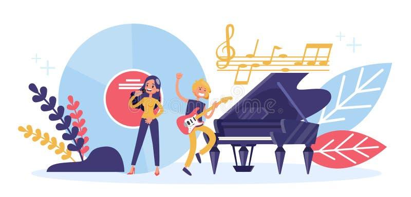 Concetto di professione del musicista Prestazione di musica sulla fase illustrazione vettoriale