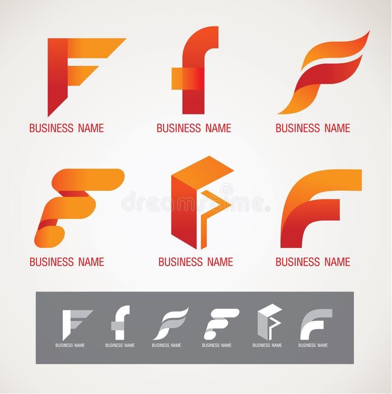Concetto di progettazione F di simbolo e di logo illustrazione di stock