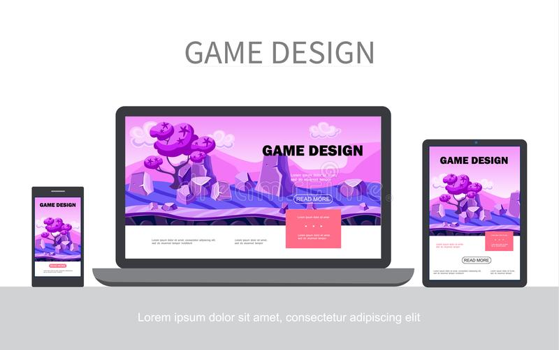 Concetto di progettazione UI del gioco del fumetto illustrazione di stock