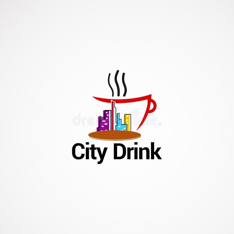 Concetto di progetti di vettore di logo della bevanda della città, icona, elemento e modello per la società fotografie stock libere da diritti