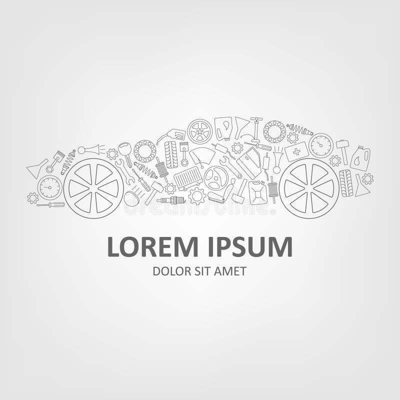 Concetto di progetto astratto di logo di vettore dell'automobile Icone lineari semplici di stile illustrazione di stock