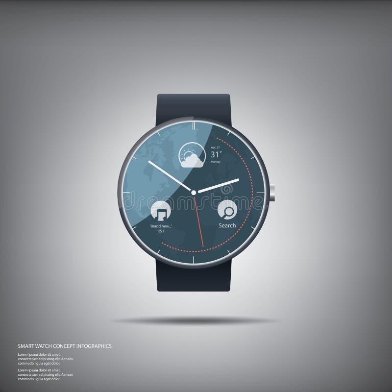 Concetto di progetto astuto rotondo elegante dell'orologio con illustrazione di stock