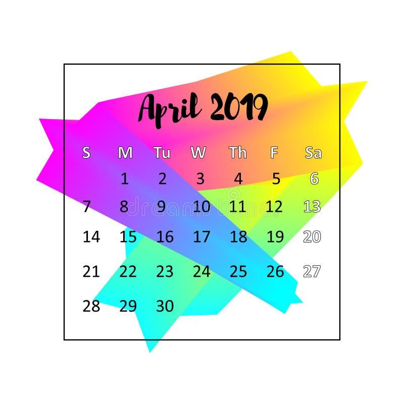 Concetto di progetto di 2019 calendari Aprile 2019 royalty illustrazione gratis