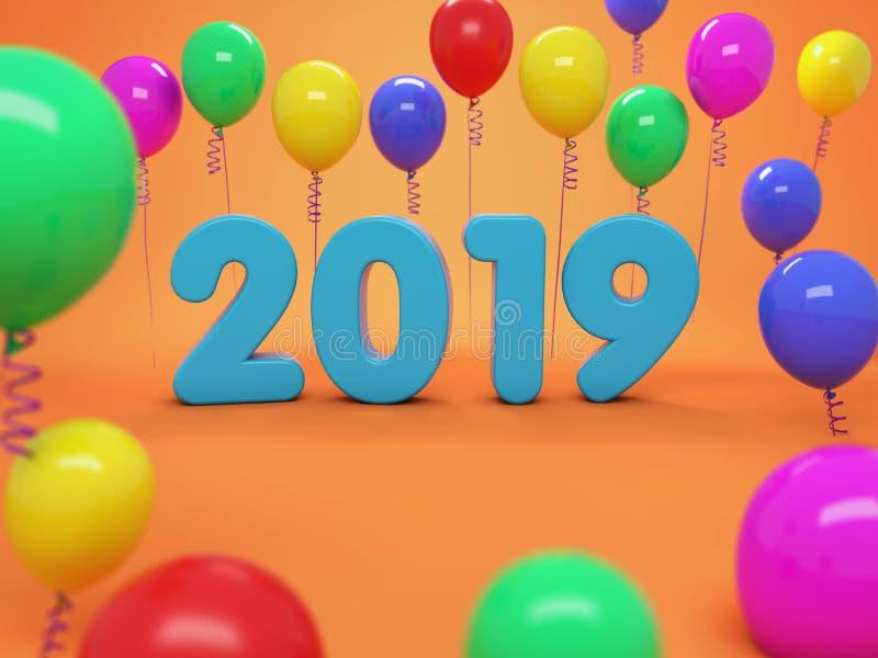 Concetto di progetto creativo del nuovo anno 2019 con il pallone royalty illustrazione gratis
