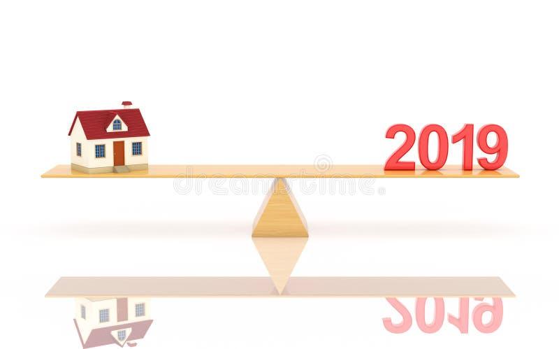 Concetto di progetto creativo del nuovo anno 2019 - 3D ha reso l'immagine illustrazione di stock