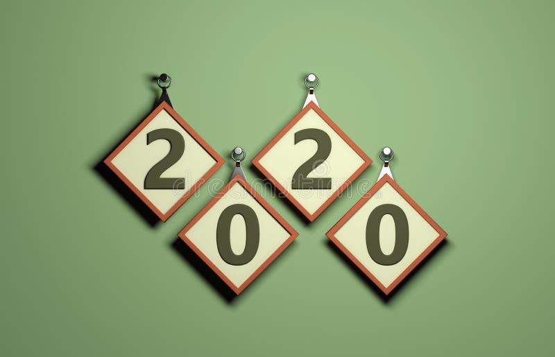 Concetto di progetto creativo del nuovo anno 2020 illustrazione vettoriale
