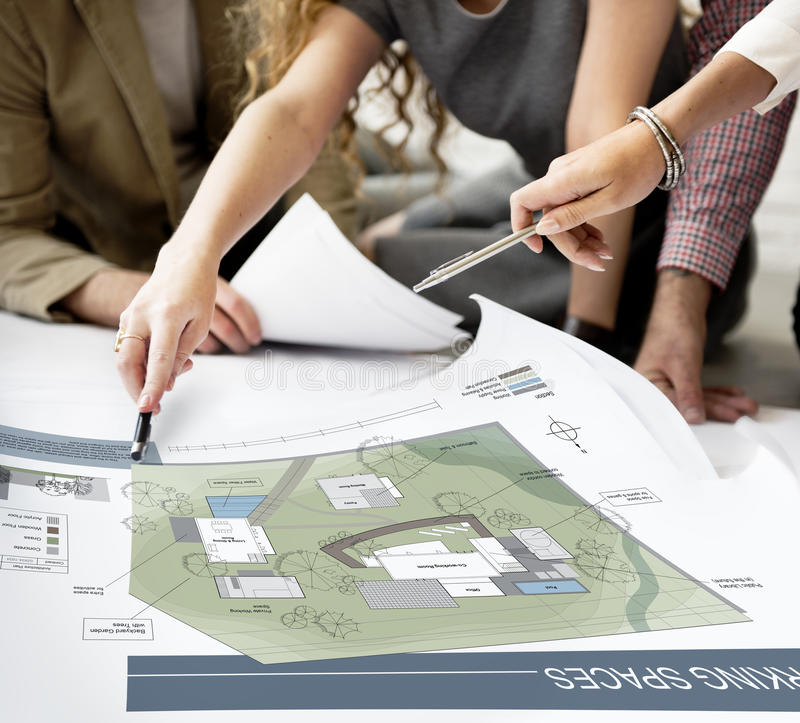 Concetto di progetto del modello della mappa di piano di architettura dello spazio di funzionamento di Co fotografia stock