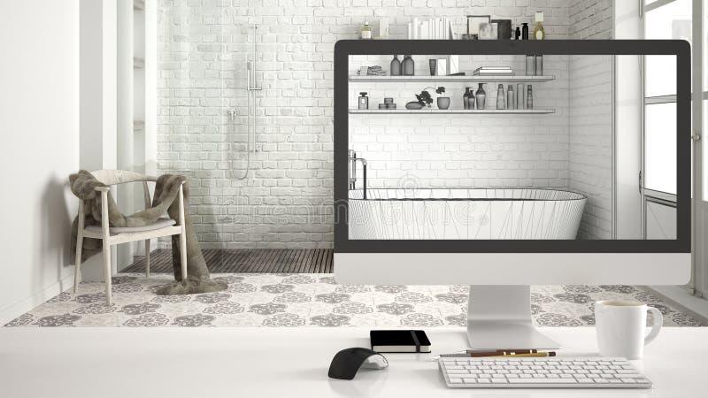 Concetto di progetto della casa dell'architetto, desktop computer sullo scrittorio bianco del lavoro che mostra schizzo di cad, i fotografie stock libere da diritti