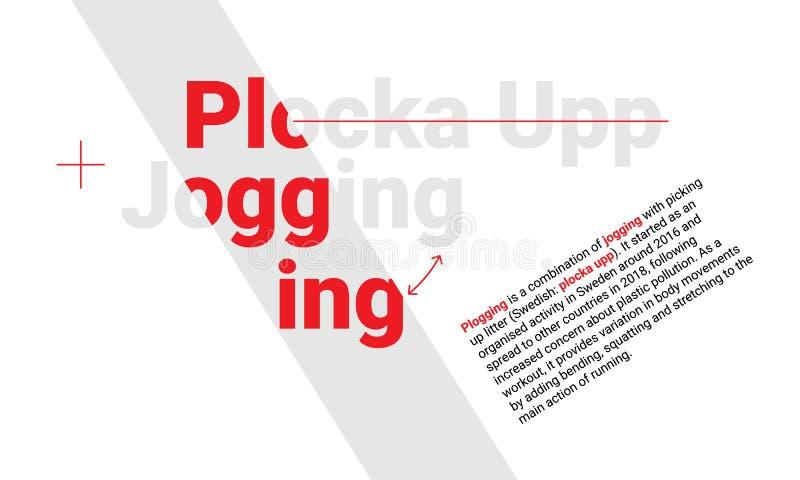 Concetto di progetto delle origini plogging che pareggiano e del modello dell'articolo del upp di plocka illustrazione vettoriale
