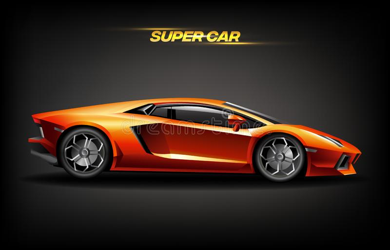 Concetto di progetto eccellente dorato realistico dell'automobile, supercar di lusso dell'automobile dell'oro arancio luminoso illustrazione vettoriale