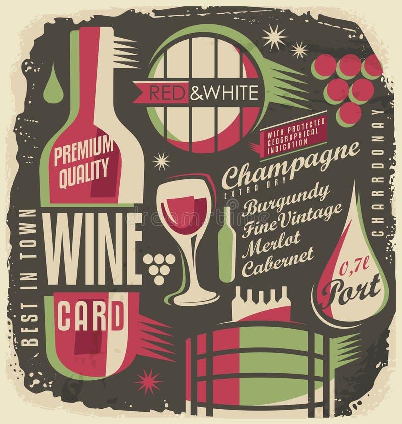 Concetto di progetto funky del menu della lista di vino illustrazione di stock