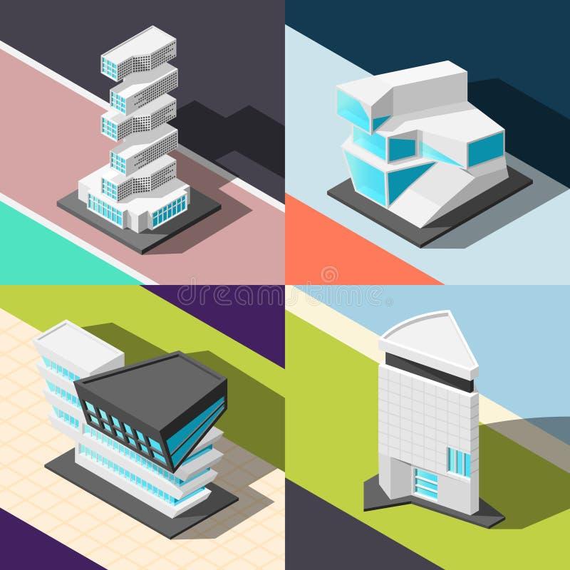Concetto di progetto futuristico di architettura 2x2 illustrazione vettoriale